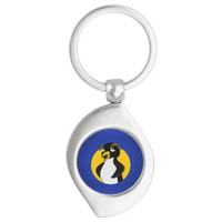 Rockhopper penguin cartoon Silver-Colored swirl metal keychain