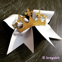 Glitter crown bow. Glitter bow with a crown and rhinestones.