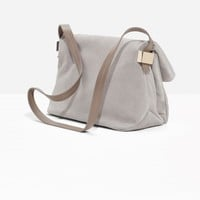 & Other Stories | Fold-Over Suede Crossbody | Grey