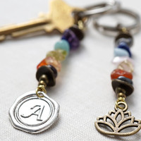 Personalized 7 Chakra Stone Set Keychain Custom Initial or Lotus Pendant Chakra Crystal Jewelry Monogram Keychain Wax Seal Stamp Unisex Gift