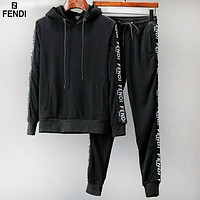 Fendi autumn and winter models tide brand men's self-cultivation hooded sweater sportswear two-piece Black