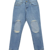 Distressed Jeans with Ripped Knees