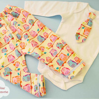 Baby Boy Set, Owl Printed, Cotton Pants, Cotton T-shirt, Jersey Pants, Christmas Gift, Newborn baby, Hospital Outfit, Birthday Gift, Flannel
