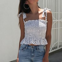 White Polka Dot Cami Crop Top