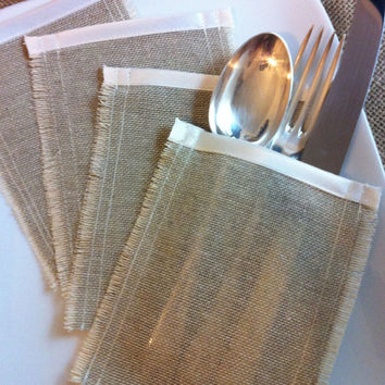 Set of 6 rustic cutlery holders, linen with ivory satin trim, silverware sleeves