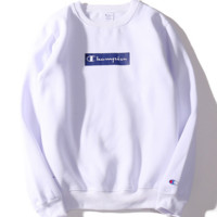 Champion tide brand Harajuku printing plus cashmere long - sleeved sweater round neck lovers section champion trousers jacket sweater