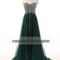 Sweetheart long prom dress,green long evening dress,handmade beading chiffon formal women dress,wedding party dresses