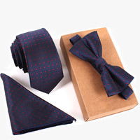 3 PCS Men Bow Tie and Handkerchief Set Bowtie Slim Necktie Cravat Homme Man