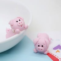 Super cute pink pig stud earrings 100% handmade polymer clay not stimulate 925 silver animal earrings for women jewelry free shipping