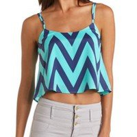 Strappy Chevron Print Swing Crop Top by Charlotte Russe