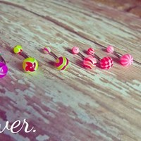 Belly Ring Set - Assorted Neon Colors from Ever