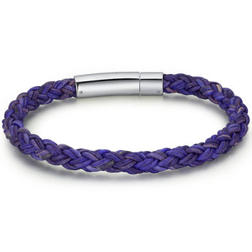 Braided Leather and Stainless Steel Locking Clasp 7mm Bracelet - Purple Blue