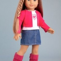 Fuchsia Heart - 4 piece outfit includes fuchsia jacket, t-shirt, denim skirt and boots - American Girl Doll Clothes