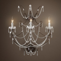 19th C. Rococo Iron & Crystal Sconce