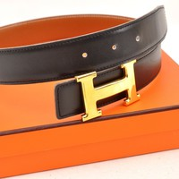 Authentic HERMES Ladies Leather Black Belt Size 60 Box C9623609B