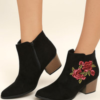 Feronia Black Suede Embroidered Ankle Booties