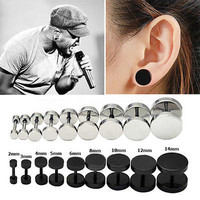 AT 2PCS Mens Barbell Punk Gothic Stainless Steel Ear Studs Earrings Unisex 3C1