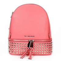 Michael Kors Rhea Small Studded Backpack Coral/silver
