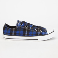 Converse Chuck Taylor All Star Plaid Low Girls Shoes Blue  In Sizes