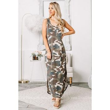 In Your Dreams Camo Maxi Dress