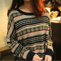 Retro Striped Pullover Sweater BADBD
