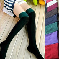 Dmart7deal Women patchwork Stockings Over The Knee Socks Thigh High Cotton Patchwork Plus Size Sock Thinner 3 Colors Black White Grey 3226
