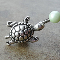Green Pearl Sea Turtle Belly Button Ring Jewelry