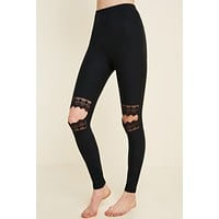 Lace Knee Cutout Leggings