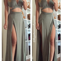 Microsuede Slits Maxi Dress - Brown
