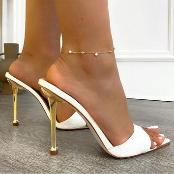 high heels metal toe high heels pointed toe stiletto sandals slippers Shoes