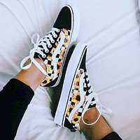 Vans Old Skool Classics Sneaker Black Yellow Tartan Diasy Shoe Sunflower