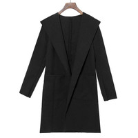 Fashion Women Trench Coat Slim Turn-down Collar Long Sleeve Casual Winer Overcoat Fast Shipping