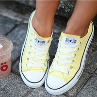 Converse Fashion Canvas Flats Sneakers Sport Shoes Low tops Yellow