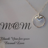 Sterling Silver Eternity Necklace, Mothers Necklace, Thank You Mom, Silver Heart Necklace, Eternal Love Necklace, Wedding, Christmas Gift