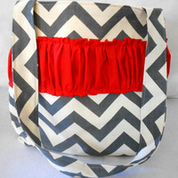 Large Chevron tote/diaper bag with ruffle pop of red