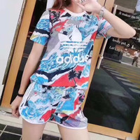 [FREE SHIPPING] Adidas 2pcs clover sports suit ice silk print T-shirt breathable short-sleeved loose shorts