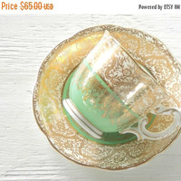 On Sale Bishop & Stonier Demitasse Tea Cup and Saucer, Vintage, Cottage Style, Victorian, Hollywood Regency, Signed R119/1