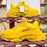 Alwayn Balenciaga Shoes High Quality Contrast Crystal clear shoes Triple sole Shoes Yellow