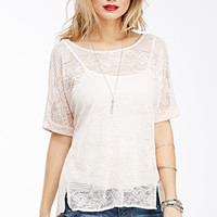Striped Floral Lace Top