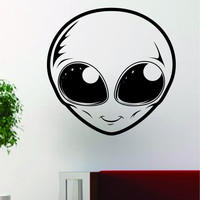 Alien Face UFO Art Outer Space Decal Sticker Wall Vinyl Decor