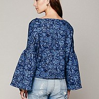 Bell Sleeve Floral Pullover
