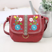 Ethnic Vintage Leather Embroidered Flower Bag for  Women