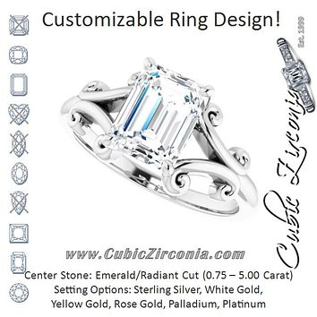 Cubic Zirconia Engagement Ring- The Paisley (Customizable Radiant Cut Solitaire with Band Flourish and Decorative Trellis)