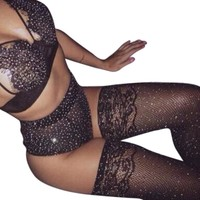 Sexy Crystal Rhinestone Fishnet Stockings Women Thigh High Nylon Pantyhose Stay Up Stocking Knee High Long Medias Mesh Hosiery