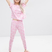 ASOS | ASOS Barbie Logo Tee & Legging Pyjama Set at ASOS