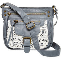 Grey Crochet Inset Washed Crossbody by T-shirt and Jeans