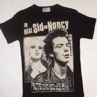 LADIES BLACK T-SHIRT REAL SID VICIOUS AND NANCY RECORD SEX PISTOLS PUNK S-2XL