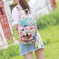 """Adidas"" Beautiful Flower School Laptop Backpack Lightweight Shoulder Bag Travel Daypack"