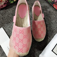 GUCCI Fashion Woman Comfortable Breathable Single Shoes Fisherman Shoes Pink