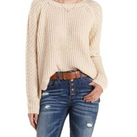 Oatmeal Scoop Neck Pullover Sweater by Charlotte Russe